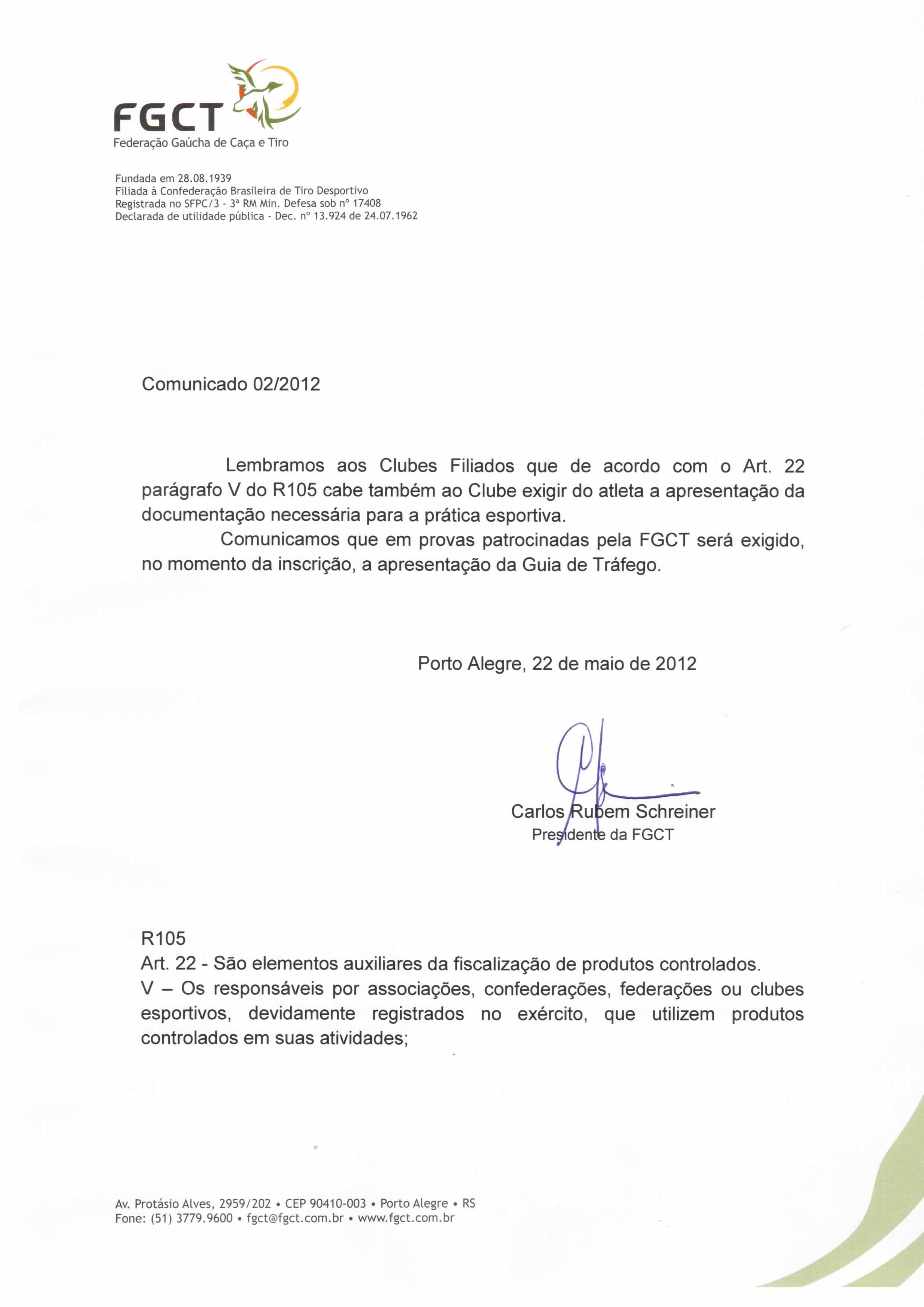 1f76d1507 Comunicado 002 2012 - Apresentação de documentação para a prática esportiva.  »